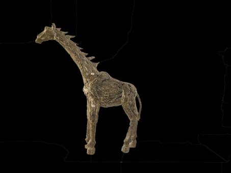 Giraffe from individual teak root pieces, approx. 1.90 m
