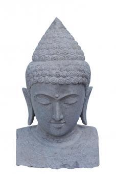 Buddha bust with flower decoration, 80 cm